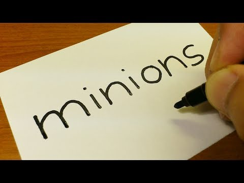 How to turn words Minions into a Cartoon for kids -  Drawing doodle art on paper
