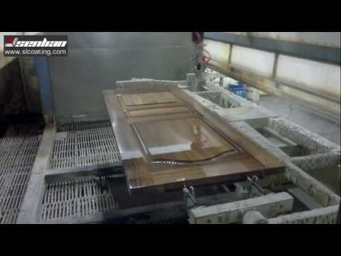 Automatic spray painting clear PU paint on wooden door