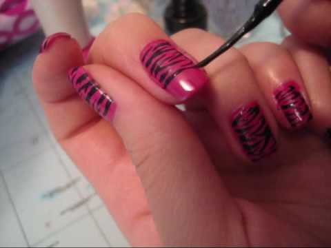 Nail Tutorial Hot Pink Zebra Nail Design Youtube