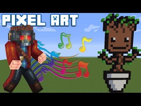 Baby Groot Minecraft Pixel Art Tutorial