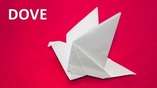 How to make a paper dove with flapping wings. Origami tutorials. Educational videos for children