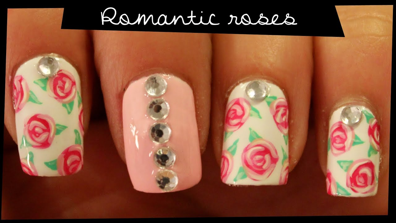 Romantic Roses nail art - YouTube