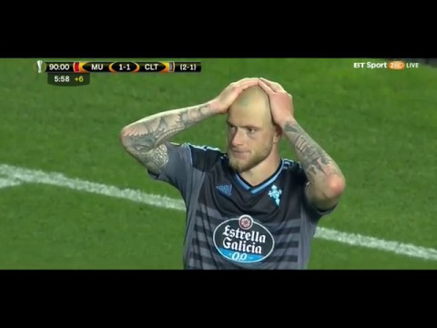 John Guidetti SHOCKING LAST SECOND MISS SLOW MOTION Man United vs Celta Vigo 12 may