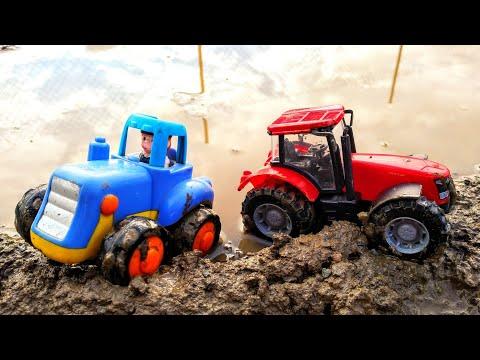 Мультики про машинки. Синий трактор едет по лужам, по грязи. Машинки игрушки. Мультики для детей.