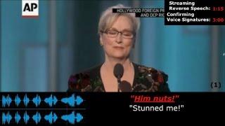 Meryl Streep, Golden Globe Awards, Criticizes Donald Trump, Streaming Reverse Speech Analysis