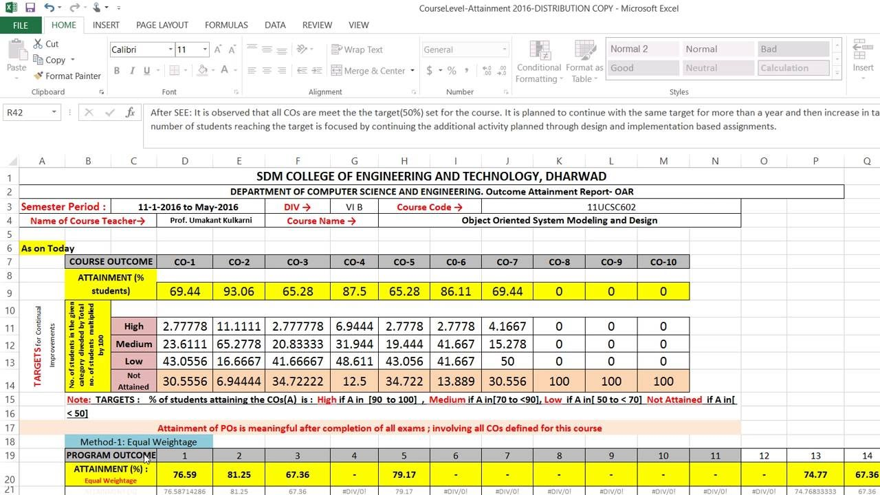 excel tool to measure attainment of outcome   sdmcet 15