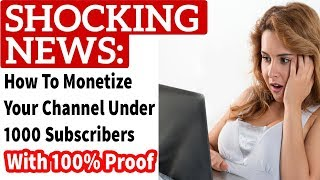 My Channel Monetization Is Enabled || Under 1000 Subscribers || How To Enable / Hindi Urdu