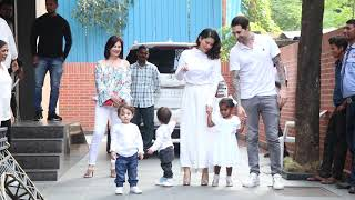 Sunny Leone with her kids outside thier play school