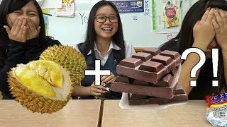 Japanese Highschool Girls Trying Durian Chocolate & Malaysian Snacks!!