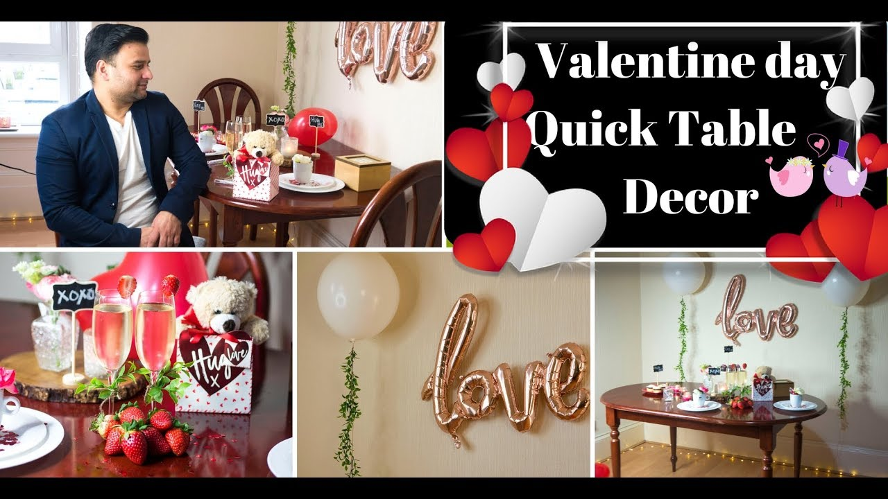 Valentines Day Dinner Table Centerpieces Valentine day table decoration ideas|Quick u0026 easy Candle light dinner table|