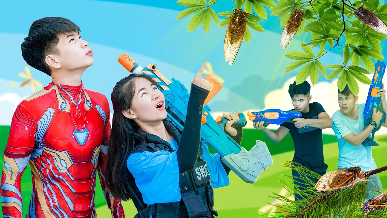XGirl Nerf War: Shield Iron Man & SWAT Candy Nerf Guns Squad Man case in the deep forest