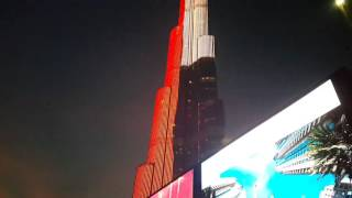 Burj Khalifa in the UAE flag light 20.12.2015