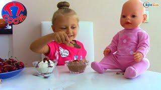 Ярослава и Кукла Беби Бон готовят Челлендж из вишни. Видео для детей. Baby Born Doll