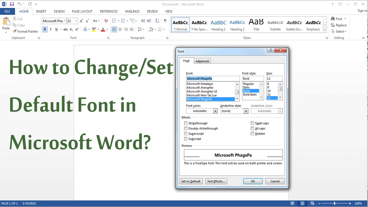 how to change  set default font in ms word 2003  2007  2013