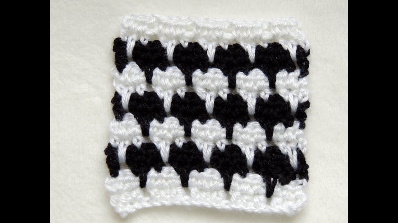 Crochet Punto Fantasia en Blanco y Negro # 1 - YouTube