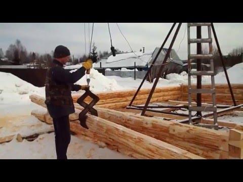 Изготовление сруба с помощью крана