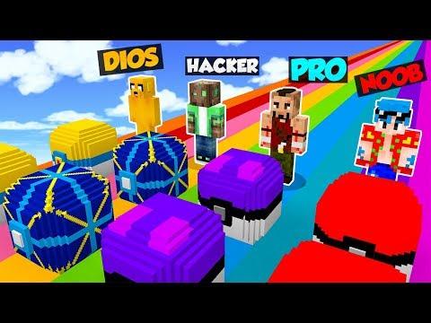 MINECRAFT: NOOB VS PRO VS HACKER VS DIOS 🌈😂 | LUCKY BLOCKS PIXELMON MOD