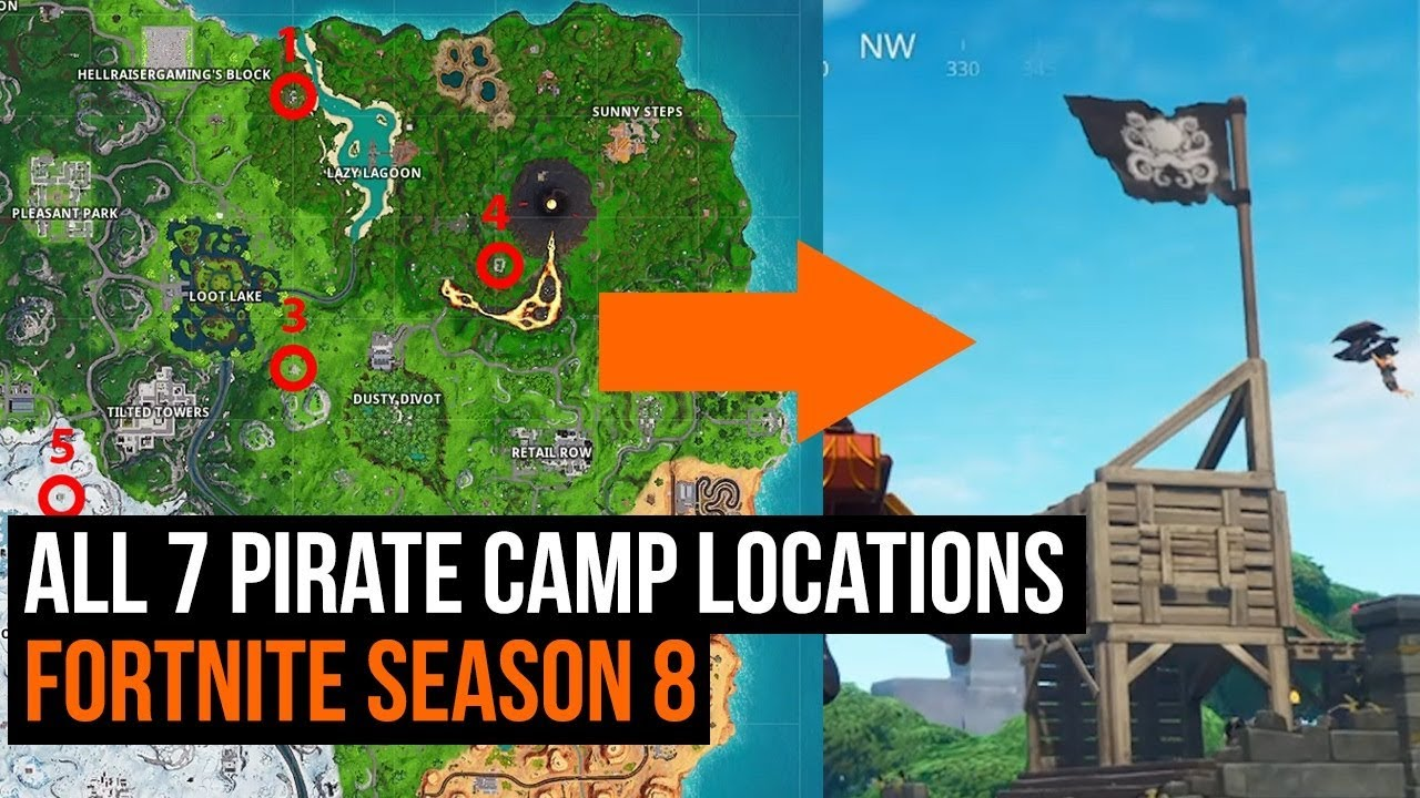 all 7 pirate camp locations fortnite season 8 week 1 challenge - visit all pirate camps fortnite location