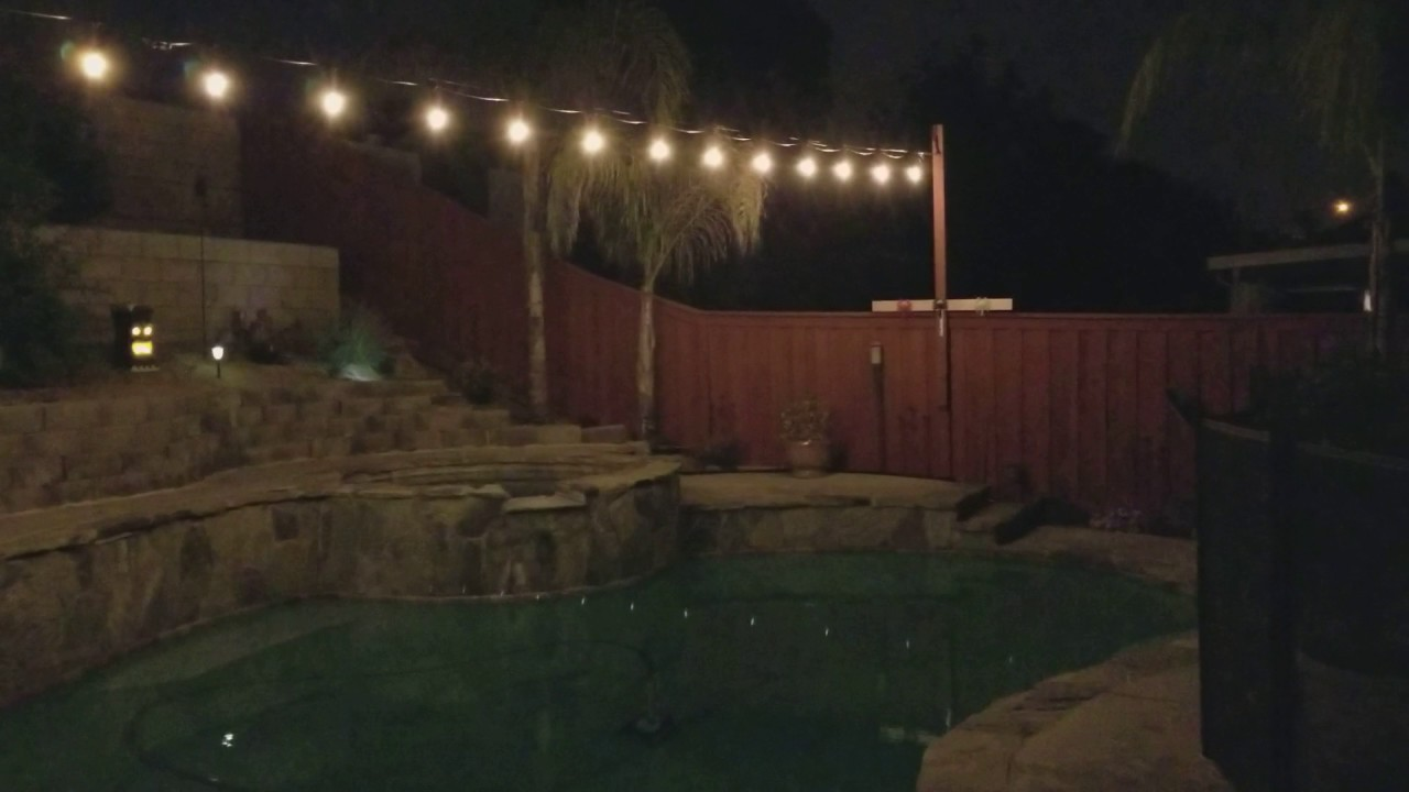 Outdoor led stringlights on at night youtube outdoor led stringlights on at night aloadofball Images