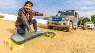 50mm Bullet Proof Glass Vs Fortuner Tractor Bolero - Will It Break ?