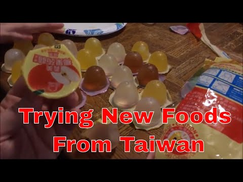 Trying new foods from Taiwan/Pineapple cake and Konjac coconut jelly