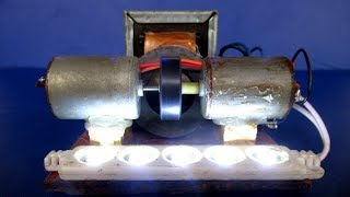 electricity Free energy generator light bulb 220 Volts with Magnet & DC motor - Easy at home