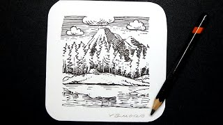 Into the Woods - Drawing Mini Landscape with Black Pen #2 - by Vamos