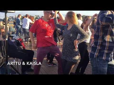 Cuban salsa social dancing at Helsinki rooftop party — Arttu & Kaisla