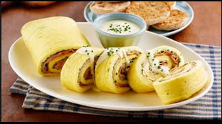 Eggs Benedict Omelette Roll with Hollandaise Sauce Recipe