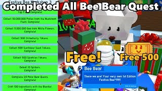 Completed All Bee Bear Quest! Free Festive Bee & 500 Tickets! - Bee Swarm Simulator