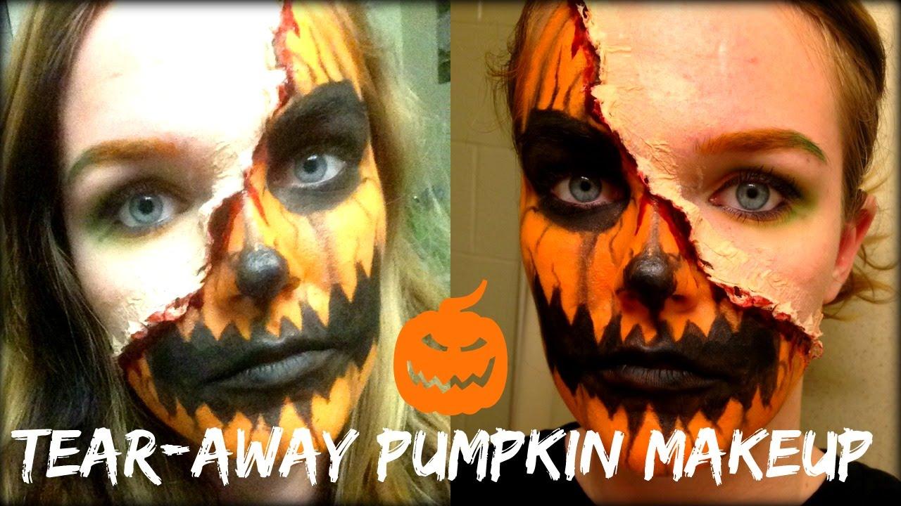 Tear-Away Pumpkin Face Makeup - YouTube