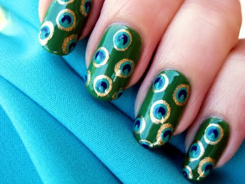 pretty peacock nail art