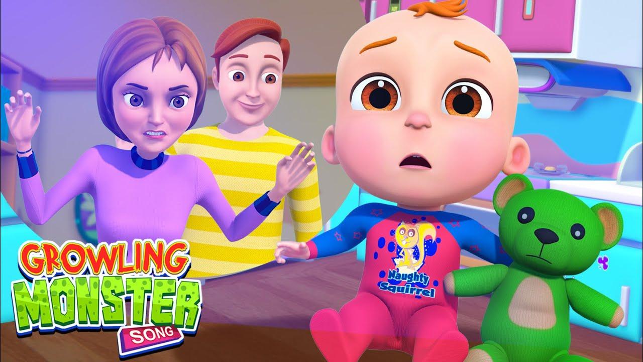 Growling Monster Song | Demu Gola Nursery Rhymes & Kids Songs | Cartoon Animation Compilation