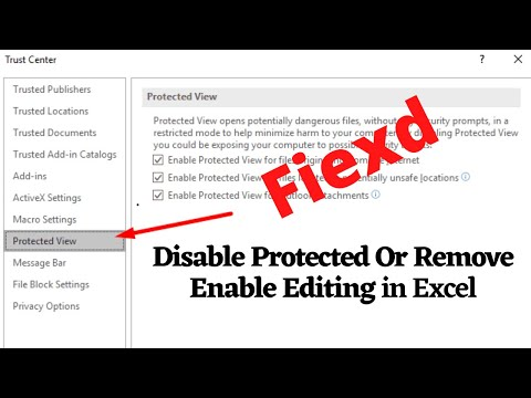 How To Disable Protected Or Remove Enable Editing Button In Excel Office  2016