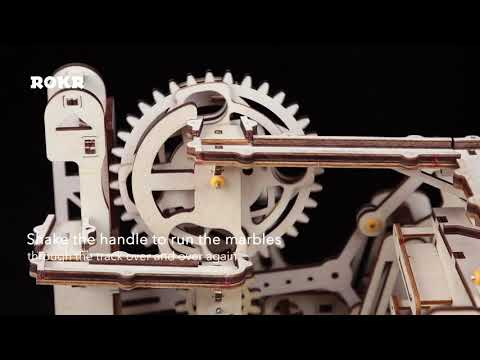 Self-Assembly Wooden Marble Run Waterwheel Coaster Puzzle Building Kits