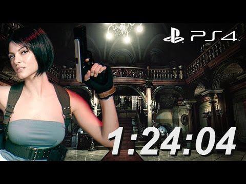 Resident Evil HD Remaster Speed Run 1:24:04 PS4 Jill RE3 Nemesis Outfit