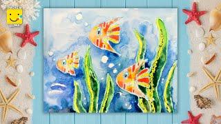 Как нарисовать  подводный мир - урок рисования акварелью