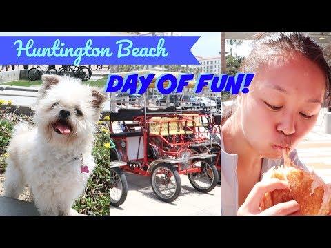 Huntington Beach! Restaurants, Dogs & Surrey Bikes