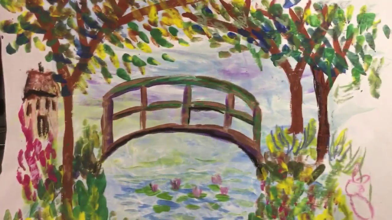 Japanese Garden Bridge Drawing. How To Draw Monets Bridge With First Grade  Youtube