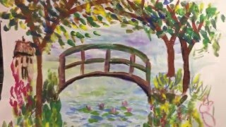 How to Draw Monet's Bridge with First Grade