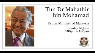 Dr Mahathir bin Mohamad | Prime Minister of Malaysia | Cambridge Union