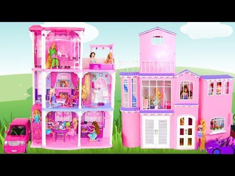 BARBIE DOLL PINK TOWN HOUSE Unboxing & Assembly Puppe Haus Barbie Maison de poupée rumah boneka