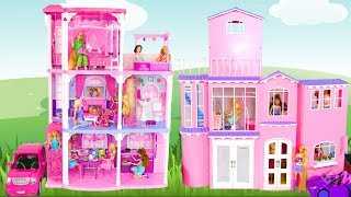 BARBIE DOLL PINK TOWN HOUSE Unboxing & Assembly Puppe Haus Barbie Maison de poupée rumah boneka