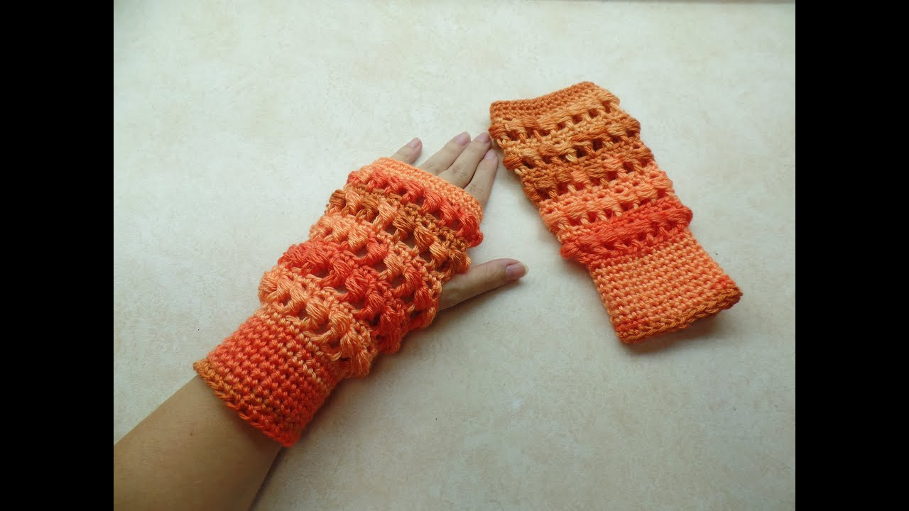 Crochet Fingerless Gloves Tutorials : CROCHET How to #Crochet Side Puff Stitch Fingerless Gloves ...