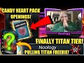 FINALLY TITAN TIER! PULLING MY TITAN FREEBIE! CANDY HEART PACK OPENINGS! WWE SuperCard Season 4