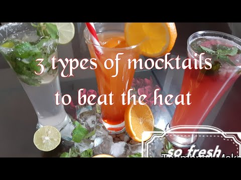 Three different types of mocktails to beat the heat #virgin mojito#pomagranate litchi delight#sunris