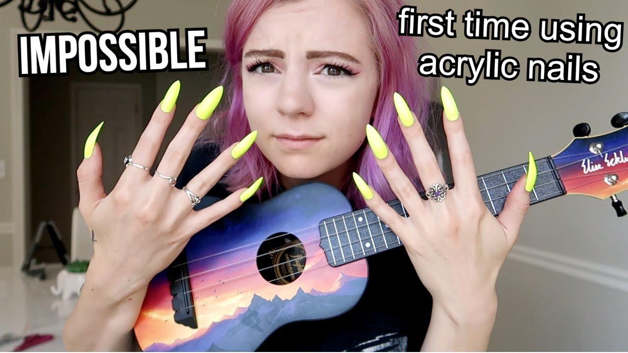 I Tried To Play Ukulele With Long Acrylic Nails Intense Youtube