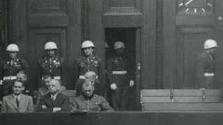 Nazi Nuremberg War Crimes Trial 12-7-1945 Various Angles of Defendants Filing Into Courtroom