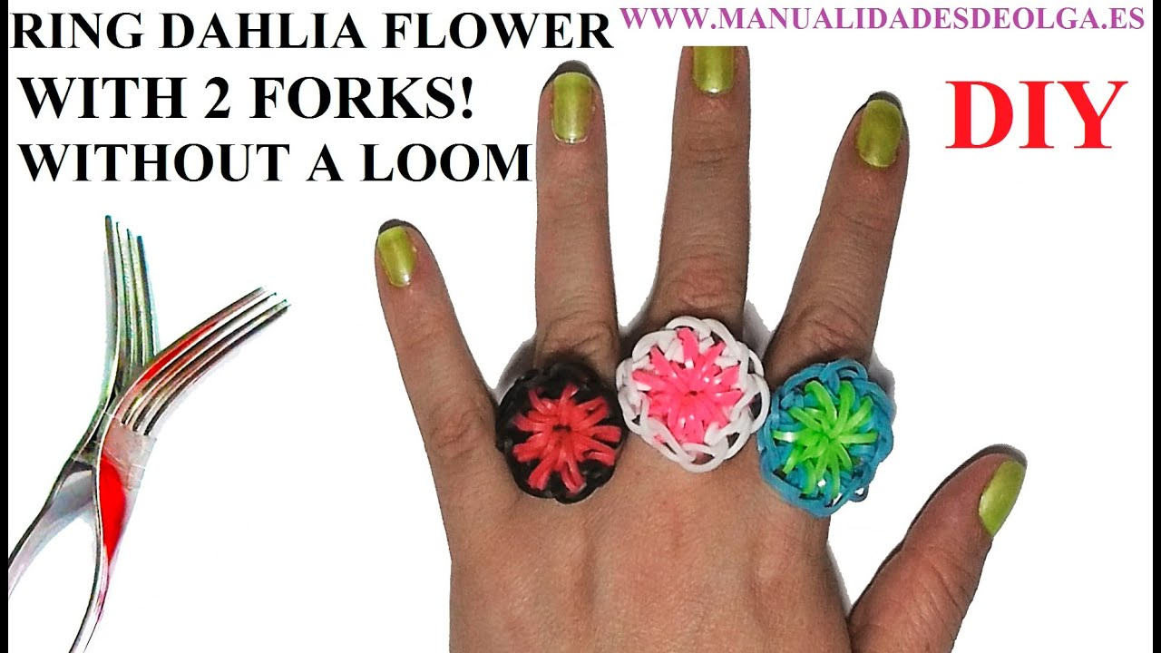 Rainbow Loom Rings Flower