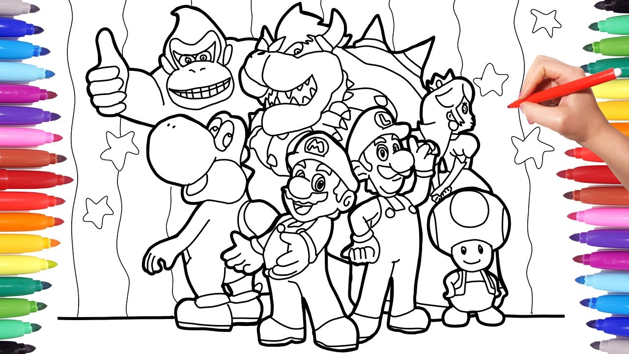 Coloring Super Mario and All His Friends  Super Mario Nintendo Videogame  Coloring Pages for Kids